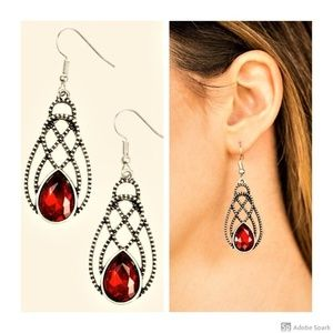 Chic Contessa - Red Faceted Glass Hook Earrings